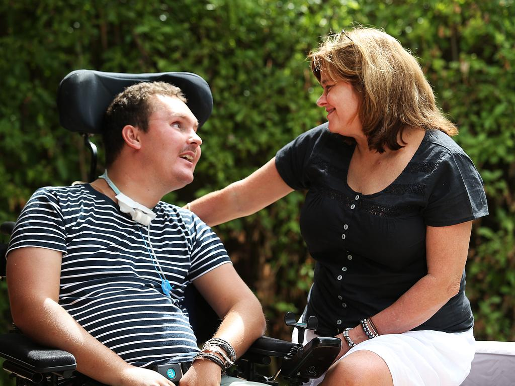 Sam with his mum, Katie. Picture: Danny Aarons