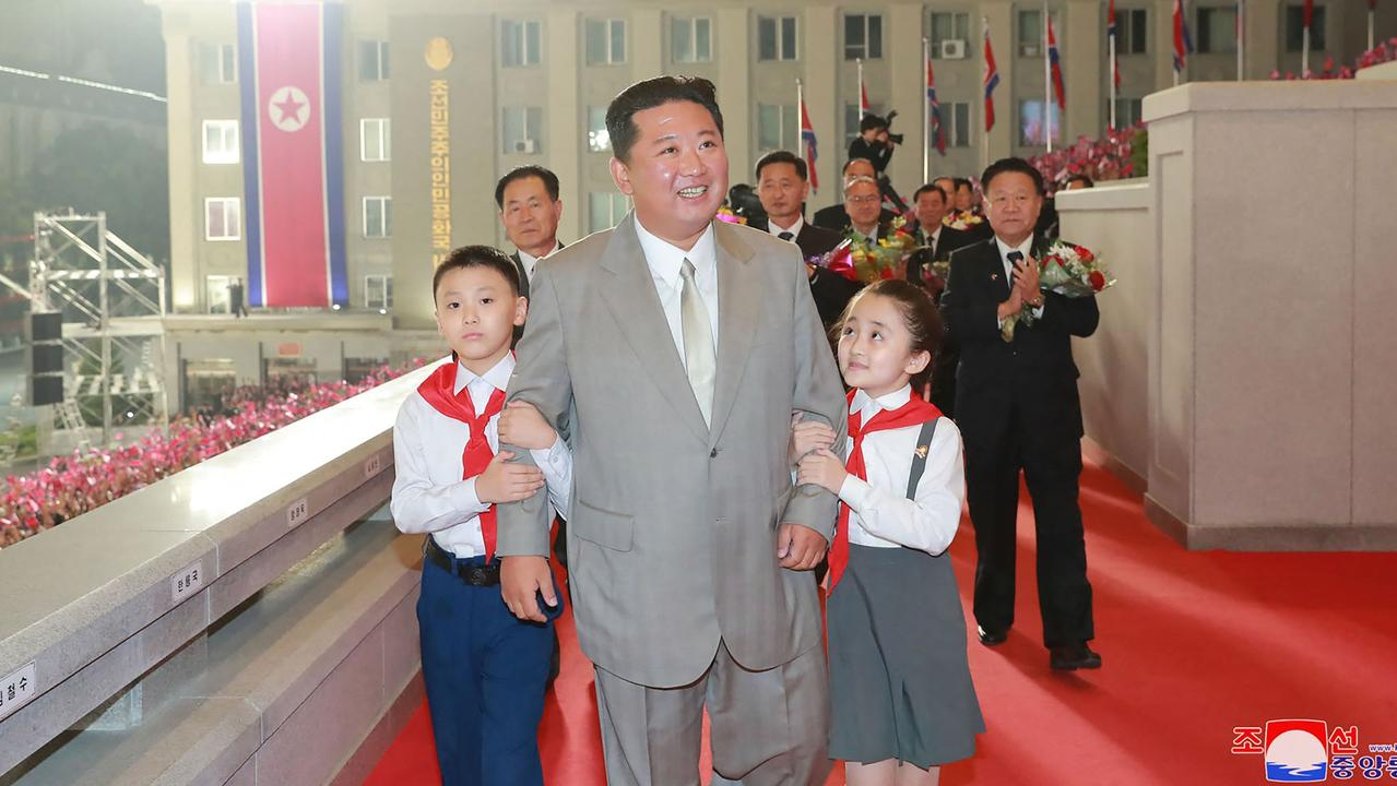 A dramatically slimmed-down Kim at the military parade held last week.