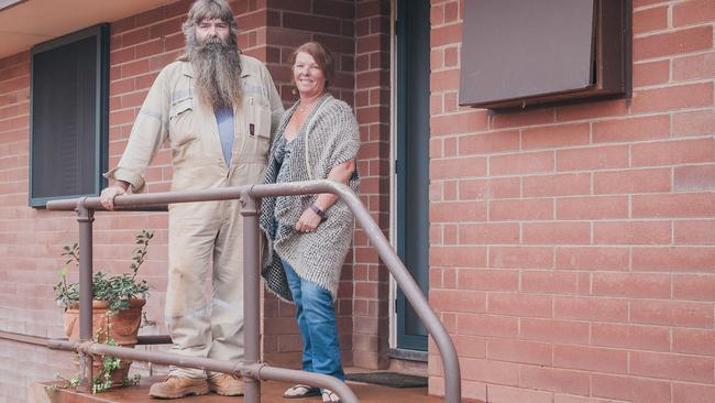 Richard and Belinda Montgomery at 57 Moore Street, Port Hedland, which they bought for $340,000 and are in the process of renovating it. Picture: Precious Memories Photographics