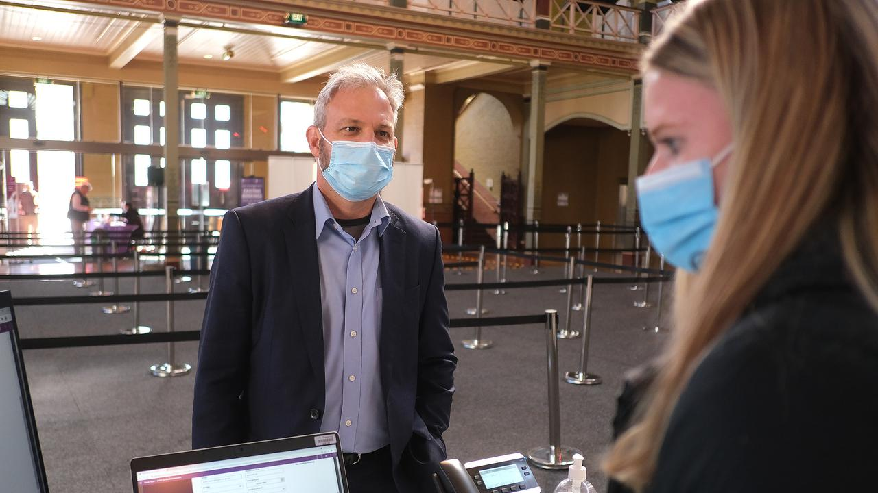 Chief Health Officer Brett Sutton checks in for his vaccination. Picture: Getty Images