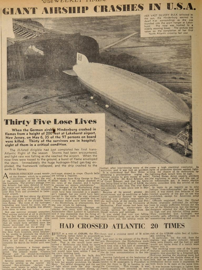 Historic Weekly Times pages. 1937. Part 4. Final scans. May 15, 1937. Page 6, Hindenburg Crash, 35 killed in the US.