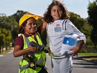 "5/3/21. Enfield Primary school students Shania - 8 and sister Bella Clinch - 9yrs are involved with the ""Women in STEM, Future You"" Program. Picture: Keryn Stevens"