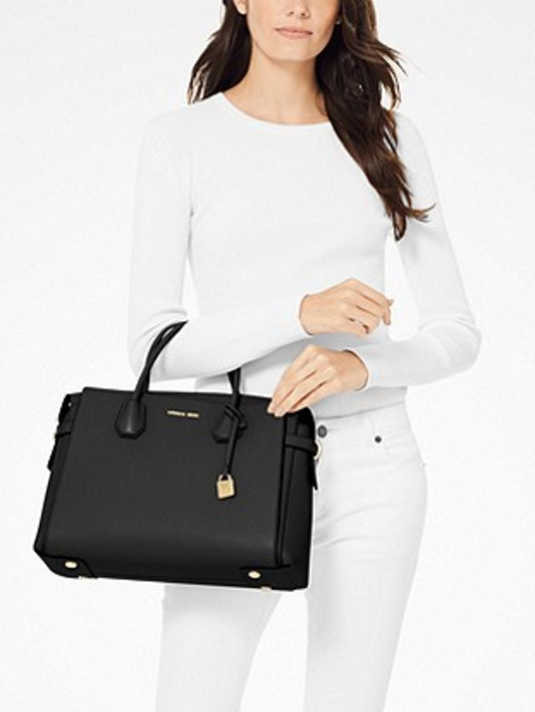 The brand's chic Mercer Belted Satchel has been reduced from $609 to $419. Picture: Michael Kors.