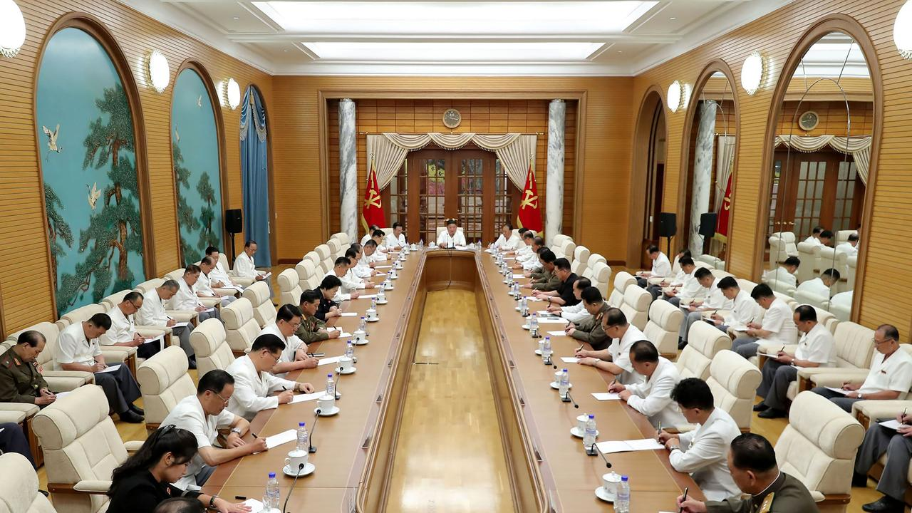 The meeting of the political bureau and the executive policy council of the 7th central committee of the Workers' Party of Korea in Pyongyang. Picture: AFP Photo/KCNA via KNS