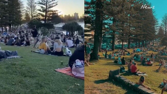 Thousands pack Gold Coast lookout for sunset