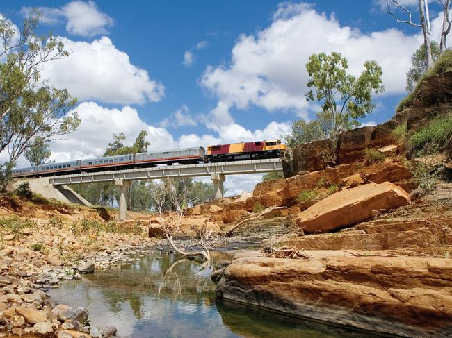 8. SPIRIT OF THE OUTBACK (Brisbane to Longreach) Leave bright city lights behind as you take the 1325km journey (about 26 hours) from Brisbane into the Outback on Queensland's most luxurious train. Passengers can book a reclining seat in economy (there's an economy lounge for takeaway meals) or a single or twin first-class cabin with exclusive access to the Tuckerbox dining car and Shearer's Rest Lounge. Entertainment tablets are available for use but you're probably more likely to enjoy the ever-changing landscape outside, from coast to mountain ranges, sunburnt plains and historic towns. Some sleepers also face forward so no need to battle through side-sleep queasiness (if you suffer from it). From $141 per person, one way, for economy seats from Brisbane to Longreach and vice versa ($427 for first class).   See also:  Why trains are the hottest travel trend of 2020    See also:   Trains so good, you'll rethink flying