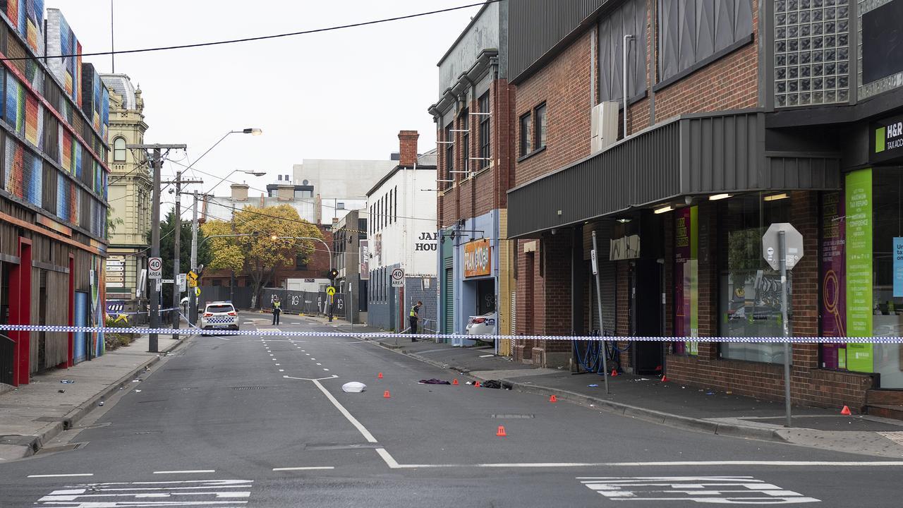 The scene of a multiple shooting outside Love Machine nightclub in Prahran. Melbourne. Picture: Ellen Smith
