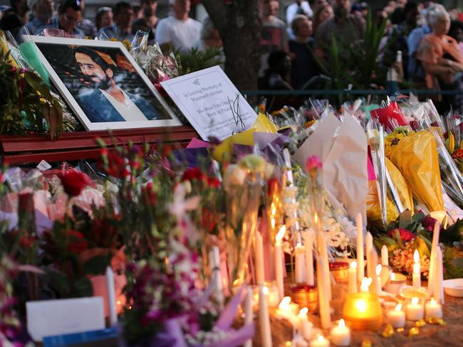 Thousands gather at a memorial for slain Brisbane city council bus driver Manmeet Sharma in Moorooka. Pictures: Jack Tran