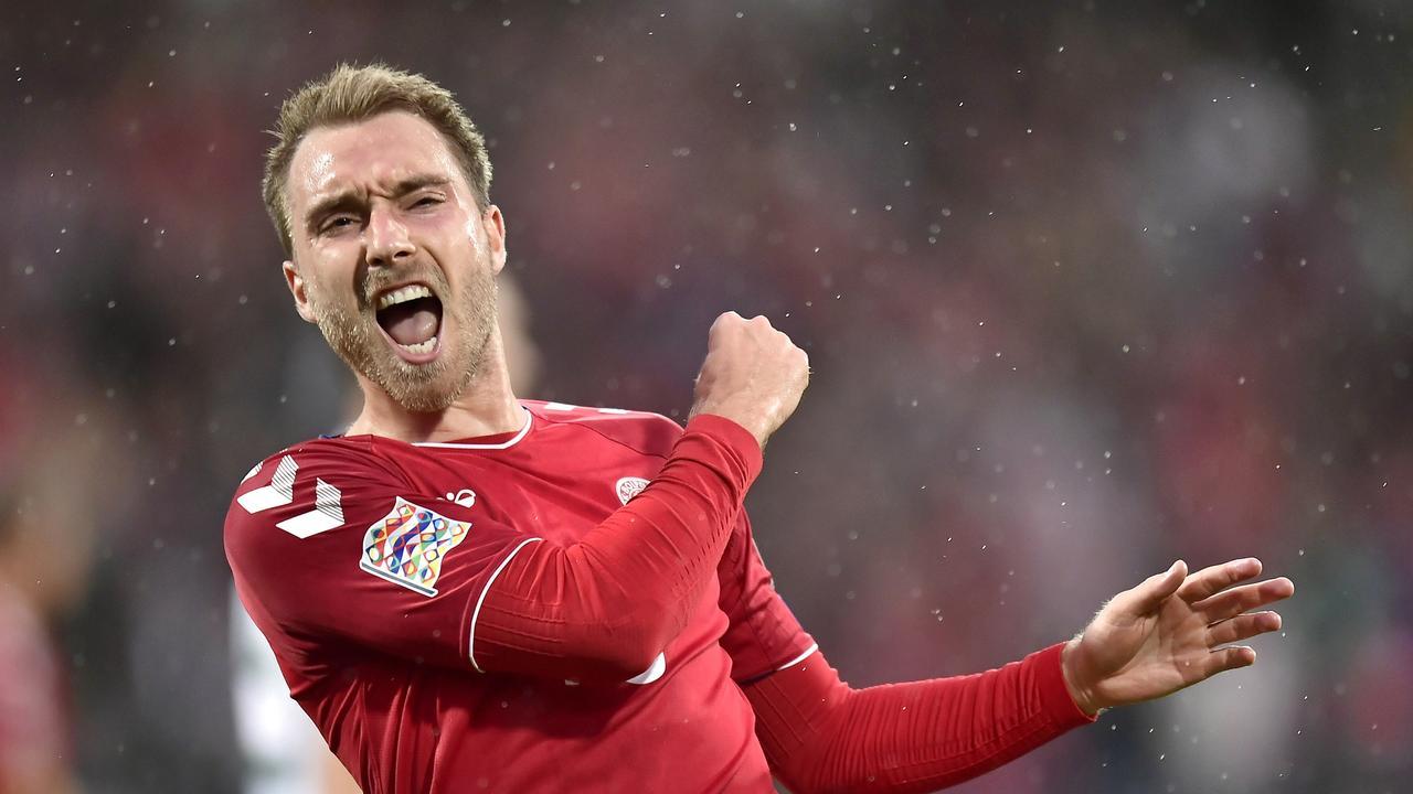 Denmark's Christian Eriksen celebrates scoring against Wales