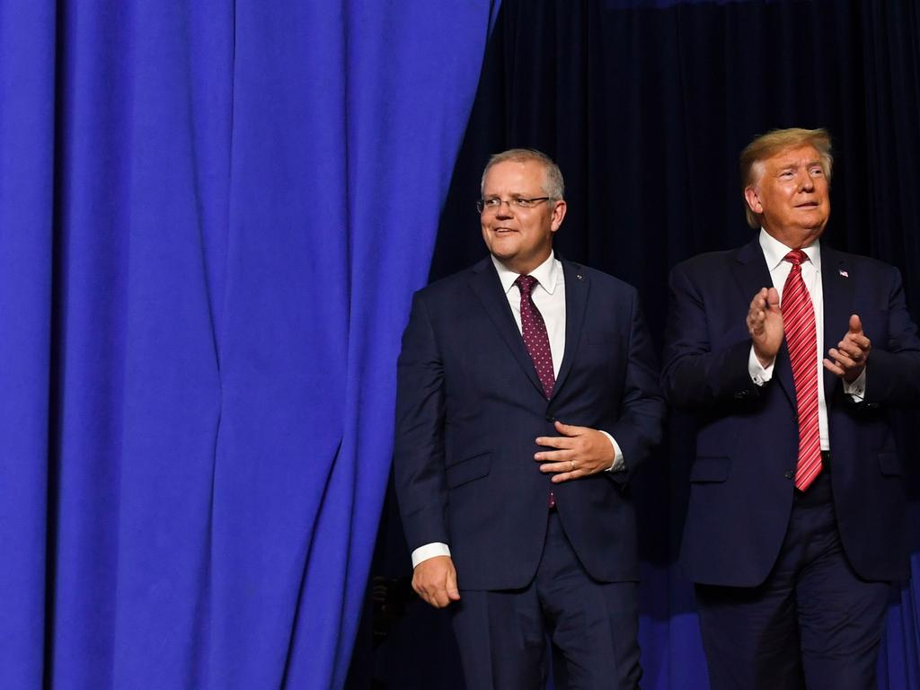 The pair attended a rally last year, where Mr Trump lauded Mr Morrison as 'a great friend to the United States of America'. Picture: Saul Loeb/AFP