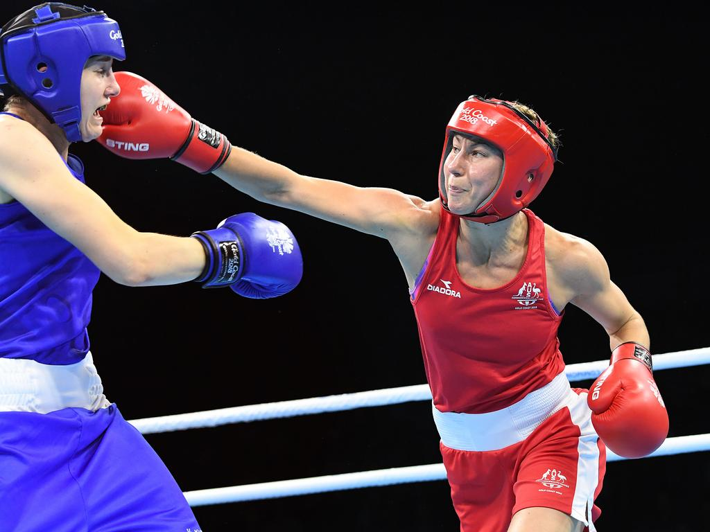Anja Stridsman lands a right hand against Paige Murney of England on her way to winning gold. Picture:  AAP Image/Dave Hunt