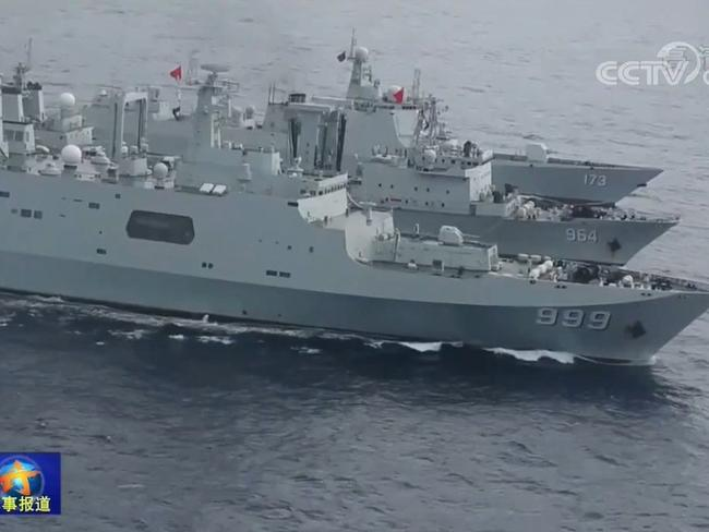 The presence of four modern Chinese warships near the Maldive Islands has significant implications for the balance of power in the Indian Ocean. Picture: CCTV7