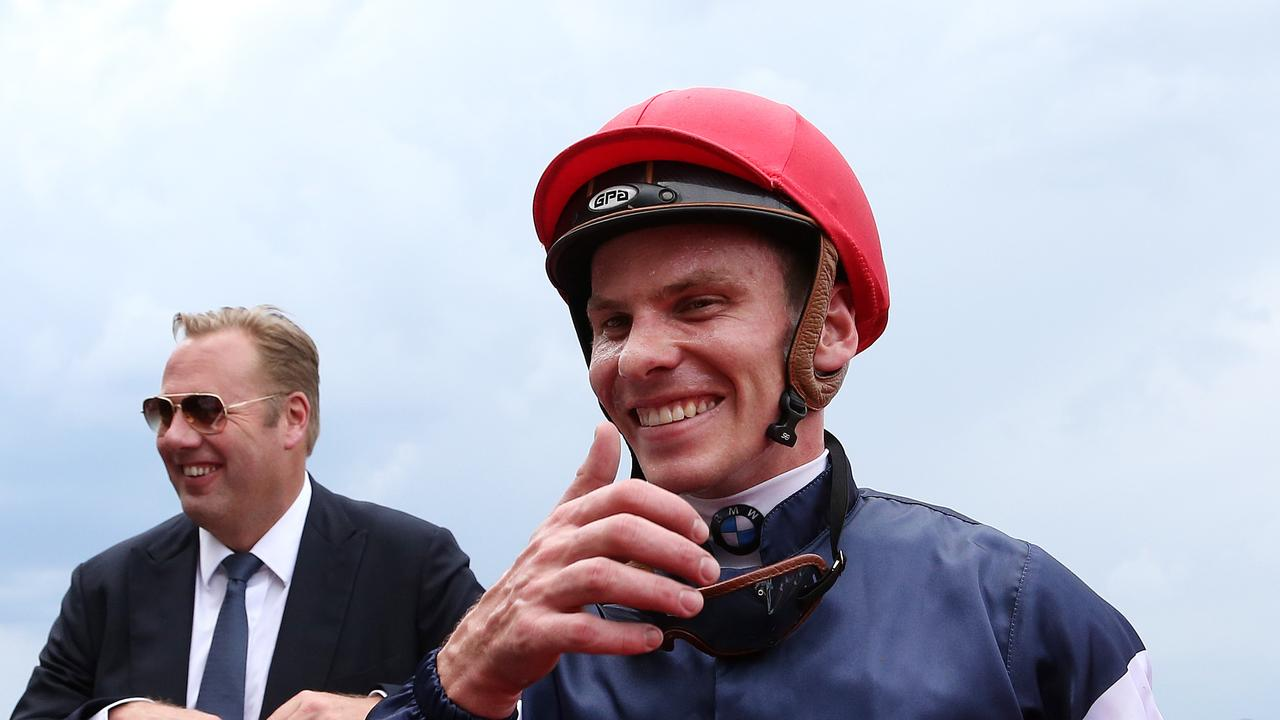 Flawed system: Suspended jockeys Ben Melham (pictured), Jamie Kah, Mark Zahra, Ethan Brown and Celine Gaudray would still be riding had the Airbnb party taken place in Queensland.