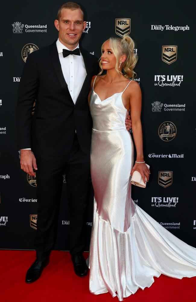 Kristi Wilkinson, girlfriend of the 2021 Daly M Award-winner Tom Trbojevic also wore a white wedding dress. Picture: Chris Hyde/Getty Images