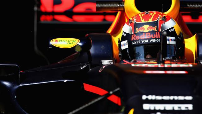 Max Verstappen in action during Formula One winter testing at Circuit de Catalunya.