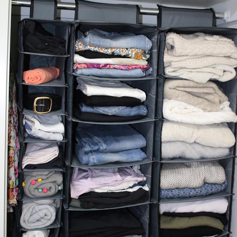 Rather than buying a chest of drawers Jess purchased $70 worth of hanging organisers. Picture: Instagram/@studywithjess
