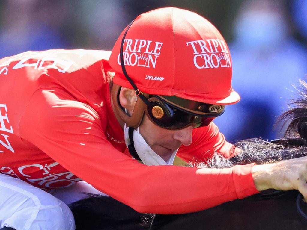 SYDNEY, AUSTRALIA - OCTOBER 23: Sam Clipperton on Exoboom wins race 5 the Robrick Lodge Filante Handicap during Sydney Racing at Royal Randwick Racecourse on October 23, 2021 in Sydney, Australia. (Photo by Mark Evans/Getty Images)