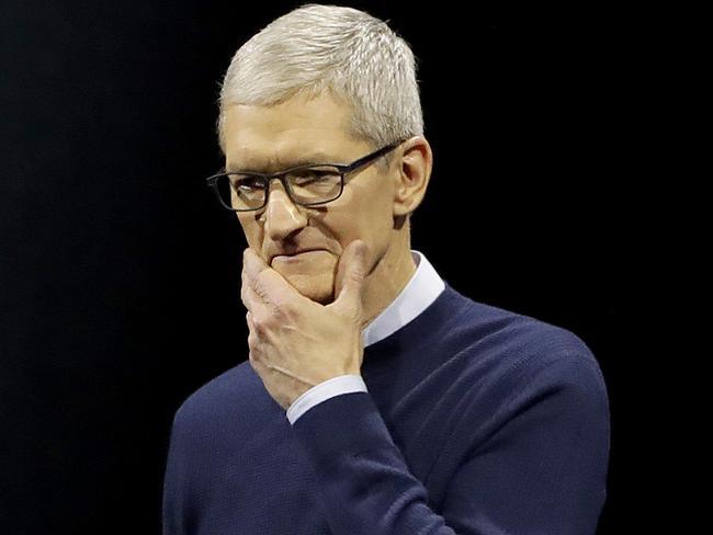 Mr Cook said Apple's new smart speaker would reinvent home music. Picture: Marcio Jose Sanchez/AP