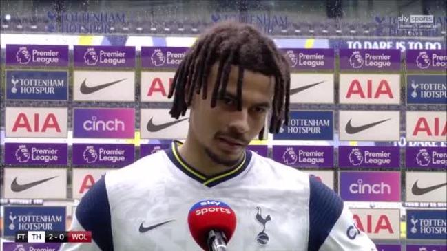 Dele Alli reacts to Tottenham's win