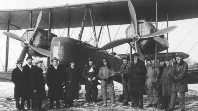 In 1919, South Australian brothers Ross and Keith Smith, along with their mechanics Jim Bennett and Wally Shiers, became the first Australians in history to fly from England to Australia in Vickers-Vimy bomber. Photo: The South Australian Aviation Museum.