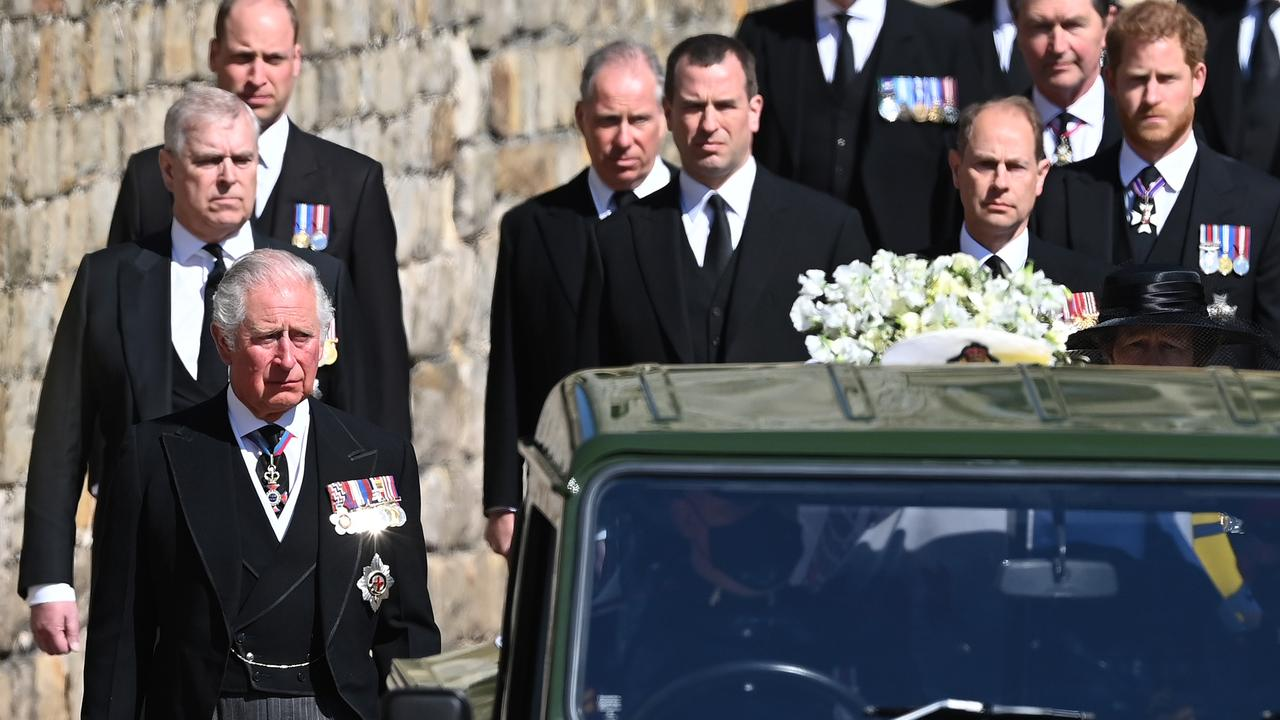 The royals at Prince Philip's funeral. Picture: Leon Neal/WPA Pool/Getty Images