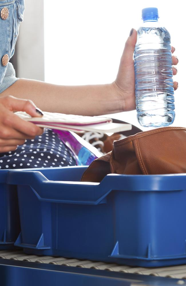 Make sure to empty your water bottle before reaching security.