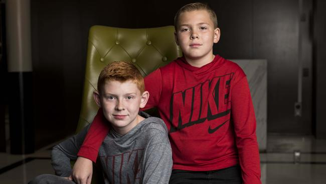 Tanner brothers Zach, 12, and David, 10, started investing young. Picture: Darren Leigh Roberts