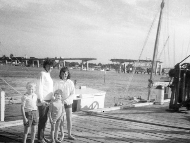 Therese Crawford and her children Kathryn, James and Karen.