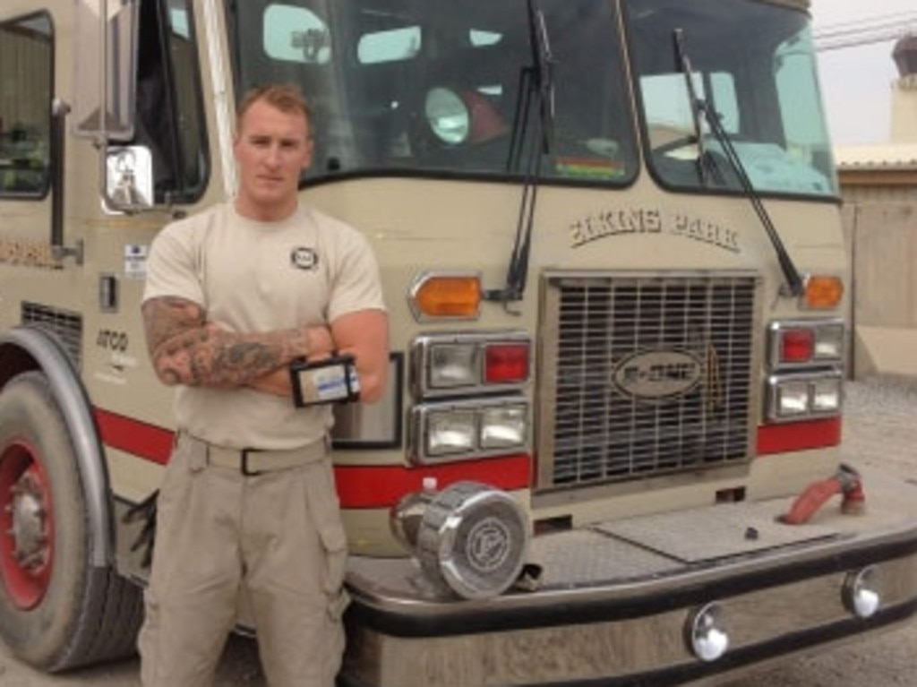 Decorated firey Drew, pictured here while serving as a firefighter alongside the military in the Middle East, says there's a lot of misinformation swirling online.
