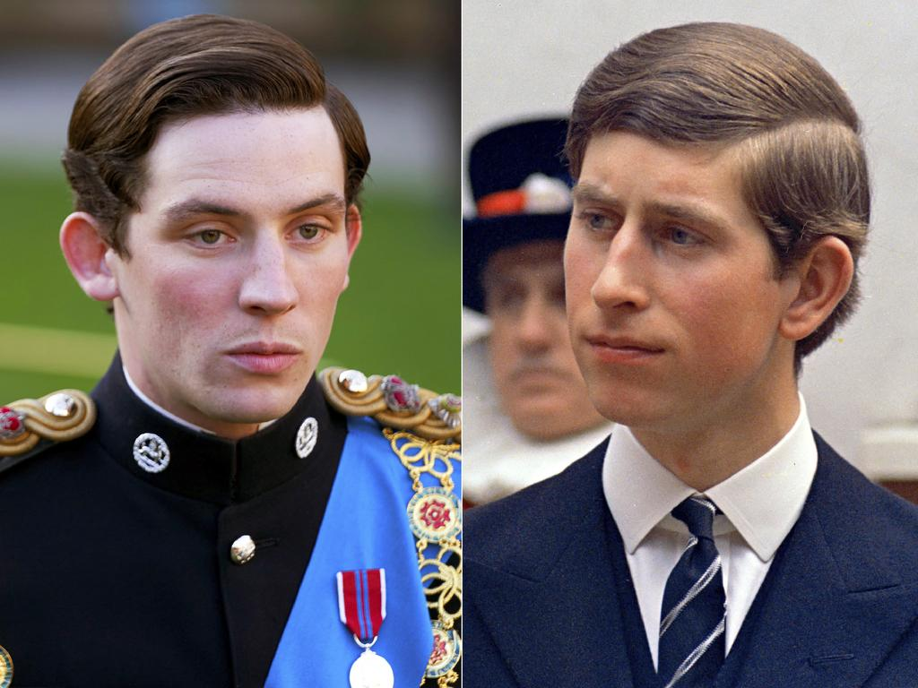 Josh O'Connor in a scene from the third season of The Crown and the real Prince Charles in 1968. Picture: Netflix, left, and AP Photo