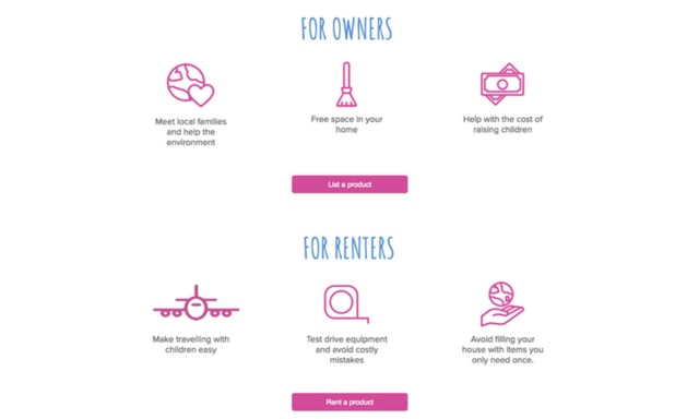Kindershare allows parents to rent baby items from parents who already own them. Picture: Kindershare.com