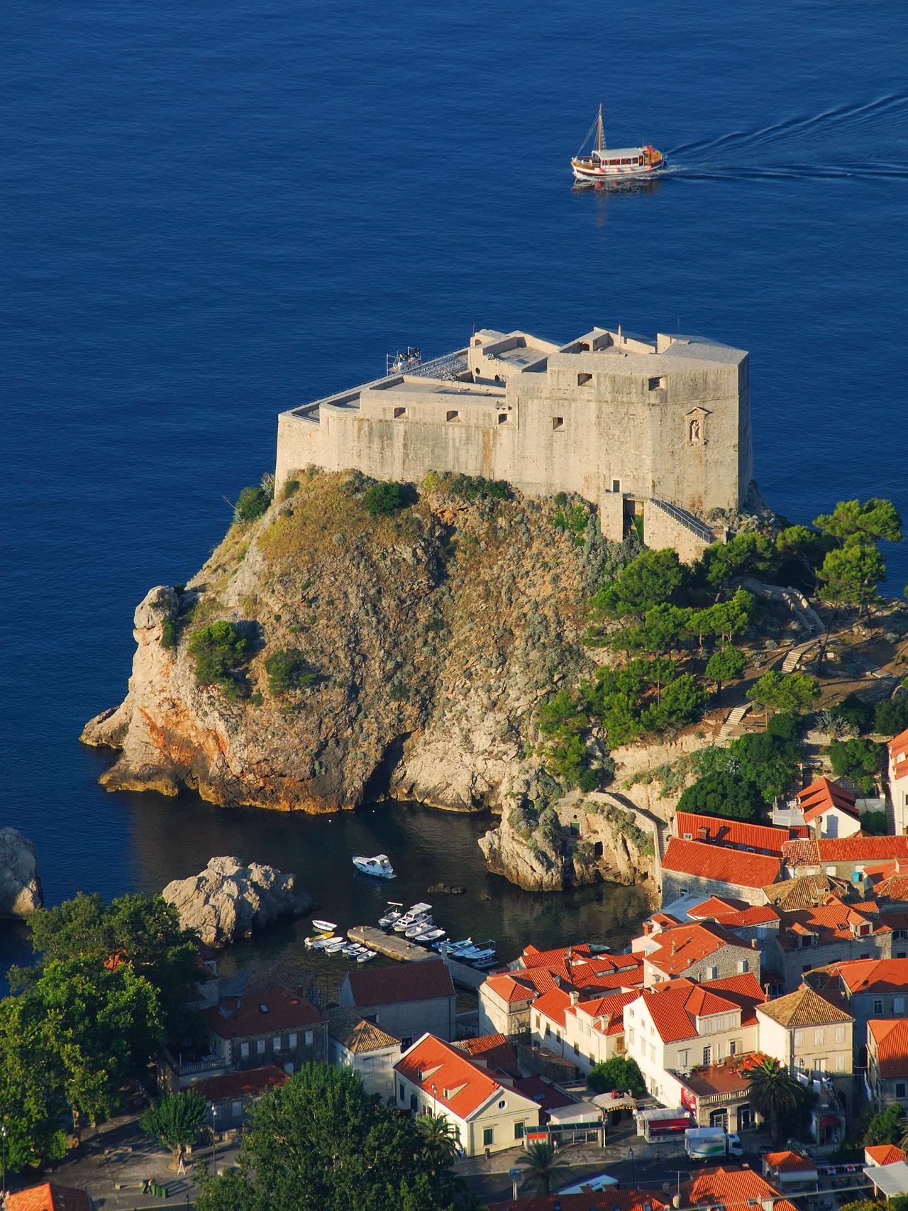 DUBROVNIK, CROATIA. An elevated view of the Lovrijenac fortress and Pile area of the town. 2010.