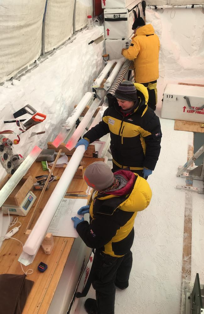 Scientists at Mount Brown South in Antarctica working on Antarctic ice core samples. Picture: Supplied.