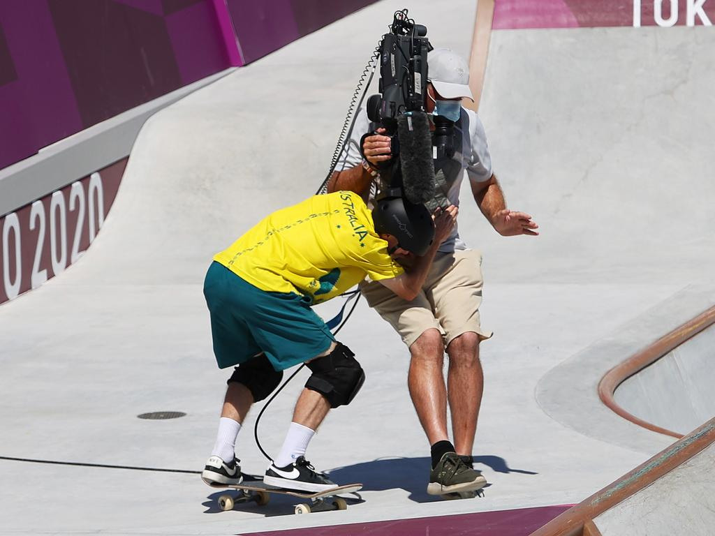 Kieran Woolley of Team Australia crashed into a TV Cameraman during the Men's Skateboarding Park Preliminary Heat 3. Picture: Jamie Squire/Getty Images