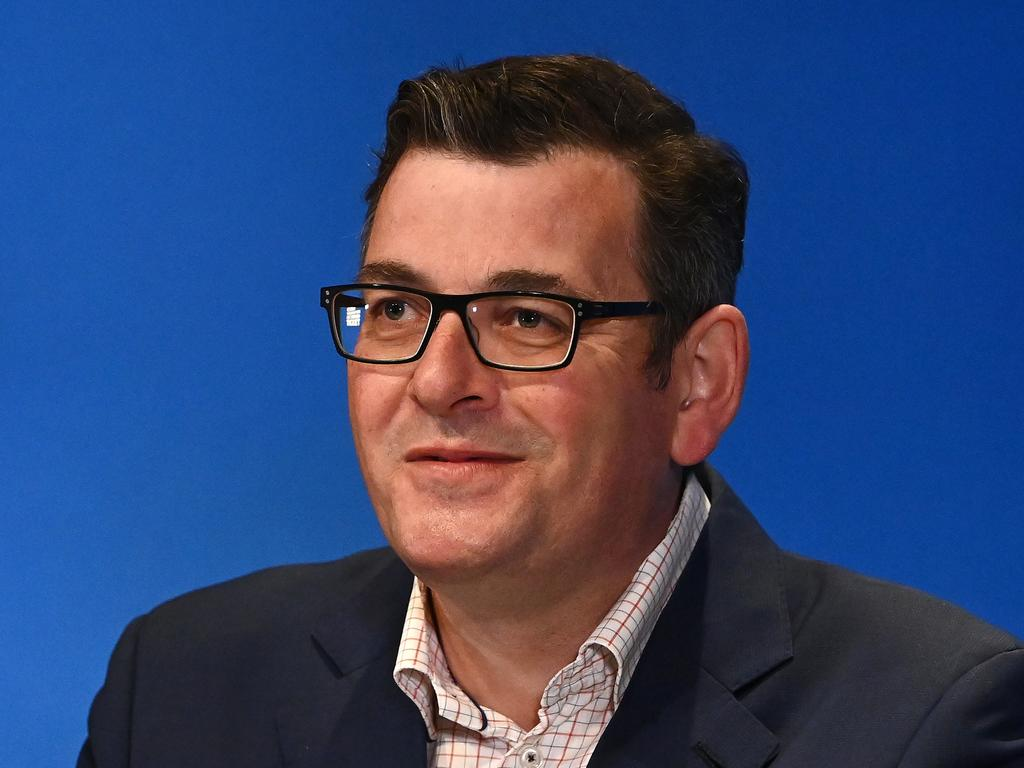 MELBOURNE, AUSTRALIA - OCTOBER 17: Victorian Premier Daniel Andrews speaks to the media on October 17, 2021 in Melbourne, Australia. Premier Andrews announced that Victoria's Lockdown will end at 11.59pm on Thursday 21st October with ten visitors allowed at your home per day and groups of up to 15 people allowed to get together in a public gathering. (Photo by Quinn Rooney/Getty Images)