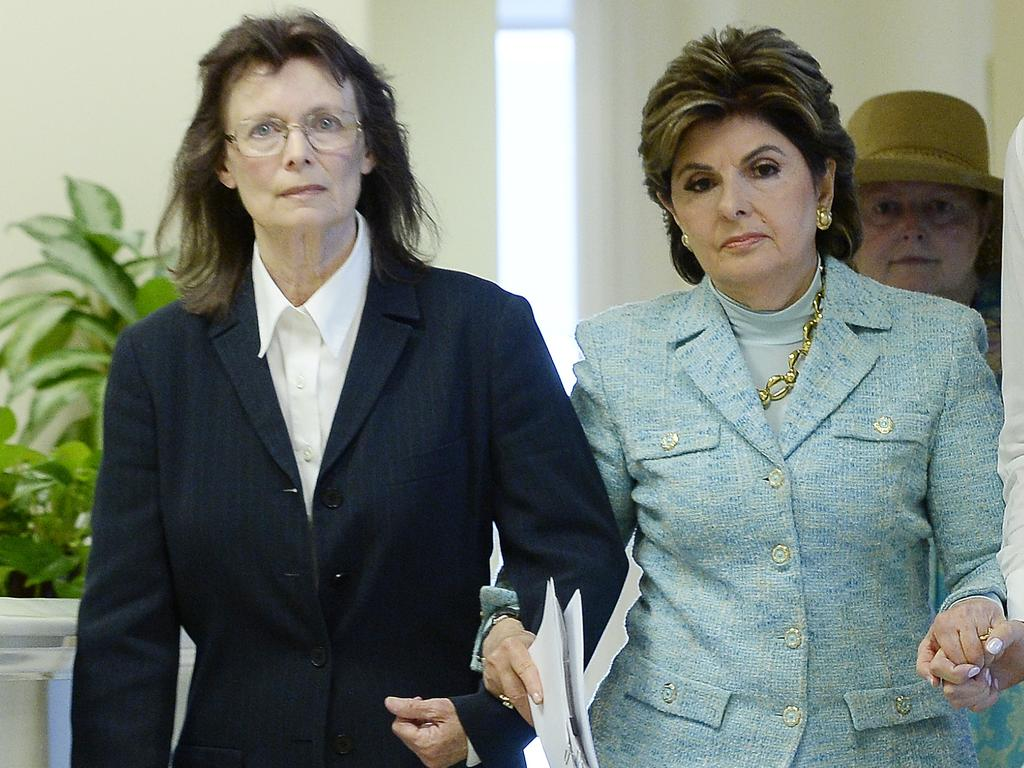 Linda Ridgeway Whitedeer, left, with lawyer Gloria Allred, said Cosby forced her to perform oral sex on him before an audition. Picture: Kevork Djansezian/Getty Images