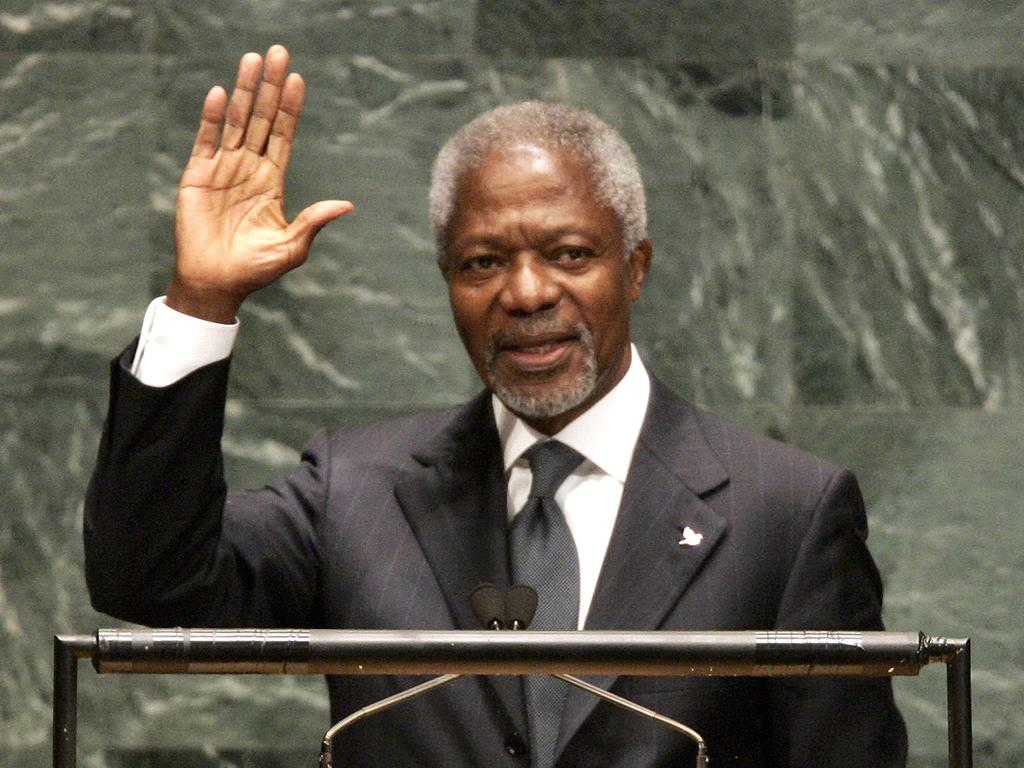 UN Secretary General Kofi Annan waves after delivering his final speech to the 61st session of the UN General Assembly in New York in 2006. Picture: AFP