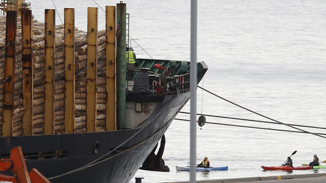 Protesters climb on board and kayak around a logging boat attempting to leave the Hobart wharf. Picture: Zak Simmonds