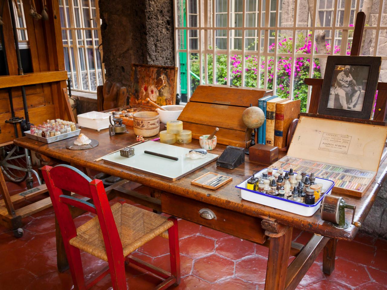 Studio, Frida Kahlo Museum (aka The Blue House, La Casa Azul), Coyoacan, Mexico City, Mexico DF, Mexico