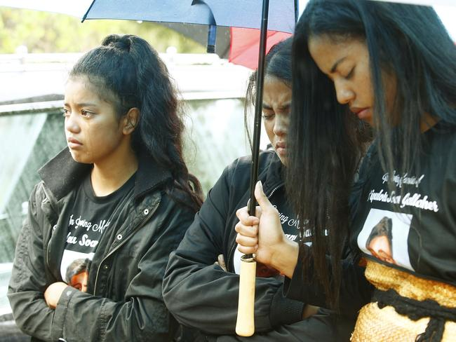 Family and friends wore T-shirts honouring Tui as they openly shed tears at the loss of the 14-year-old. Picture: John Appleyard