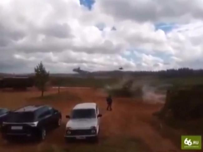 The moment a helicopter opened fire  on spectators. Picture: Reuters