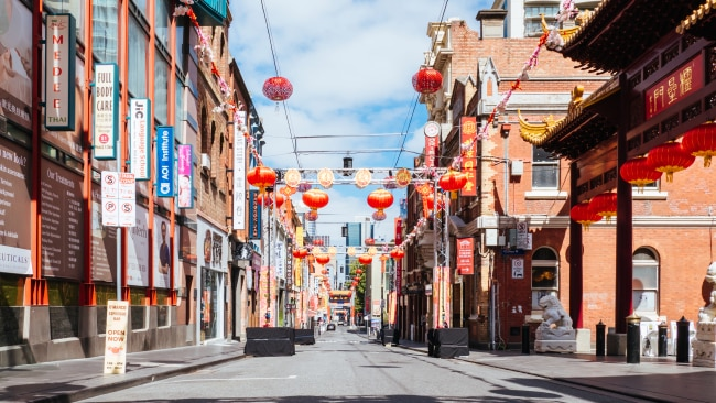 Empty Victorian streets after the state entered its fifth day out of lockdown. Picture: Getty Images