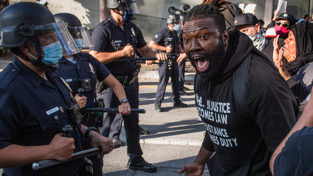 Protesters face off with police in Los Angeles. Picture: Mark Ralston/AFP