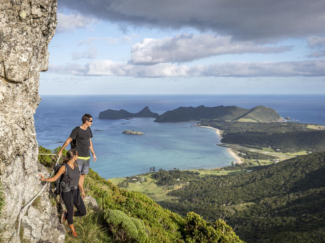 """TRY Set on stunning Lord Howe Island in NSW, Pinetrees offers guests a number of programmed active escapes, from Ocean Swim Weeks to guided Seven Peak Walks (pictured), and Wellness Week, which includes """"adventure fitness"""", yoga and cooking classes.  LORD HOWE ISLAND NAMED IN WORLD TOP 10  THE ISLAND 'SO EXTRAORDINARY IT'S UNBELIEVEABLE'"""