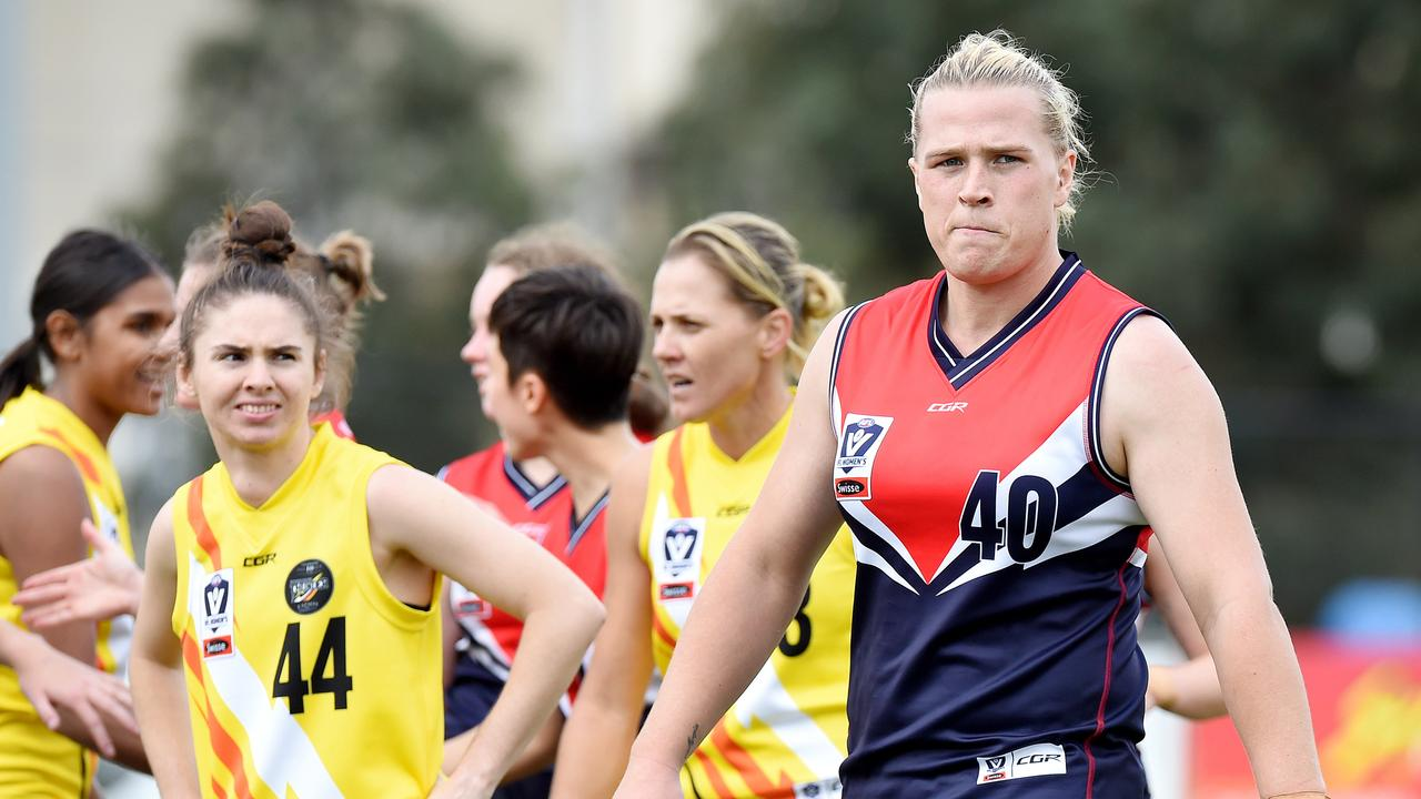 Transgender footballer Hannah Mouncey playing for the Darebin Falcons against NT Thunder at Preston City Oval. Picture: Nicole Garmston