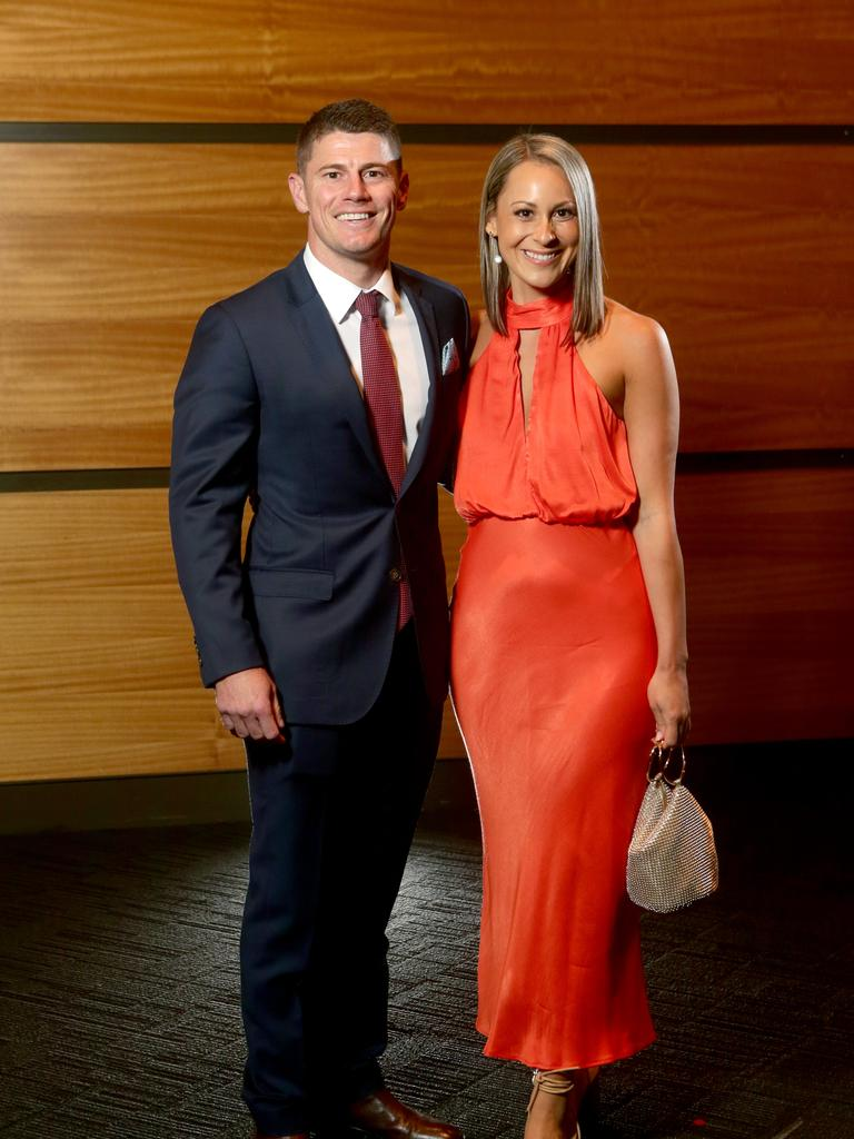 Dayne Zorko with his partner Talia de Marco at the Lions' club champion dinner. Picture: Steve Pohlner