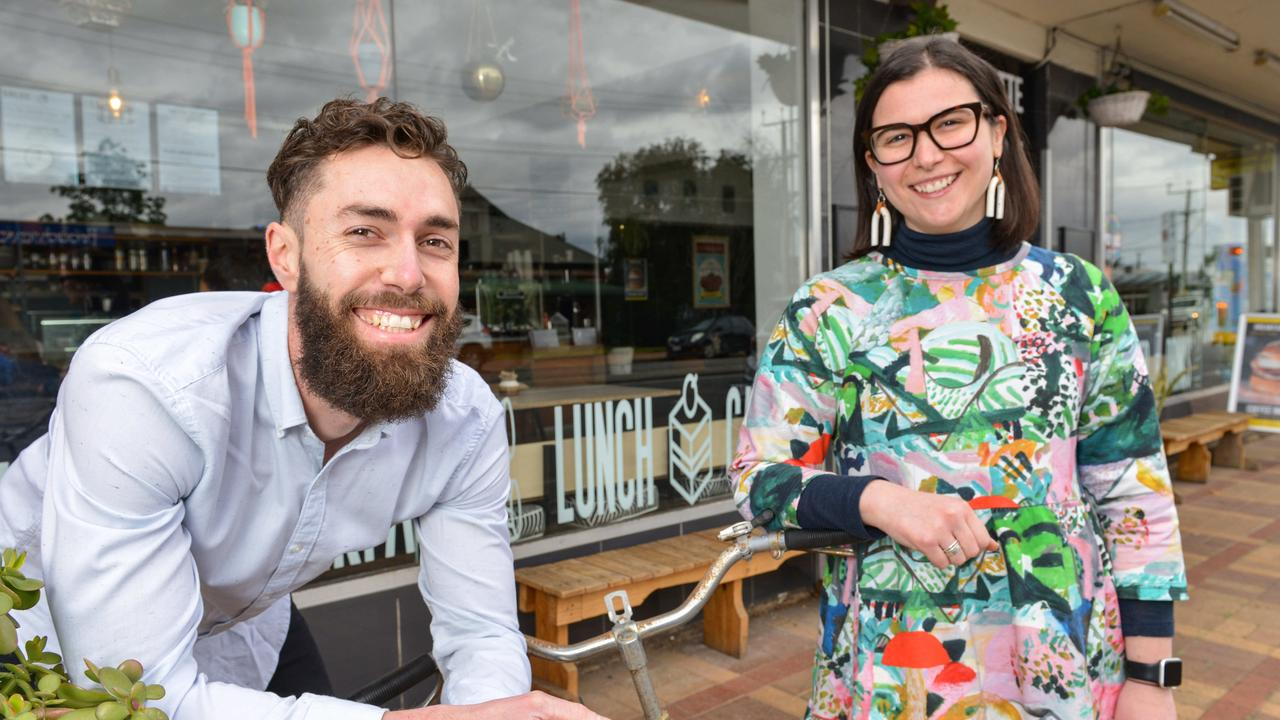 Deanna Daminato and Michael Alves at Pane E Latte in Broadview. The couple recently bought a house in the area. Picture: Brenton Edwards