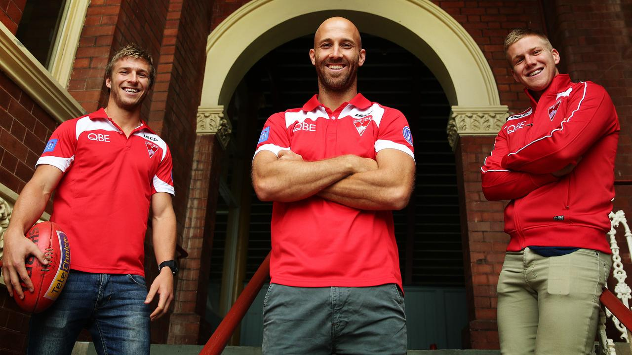 Kieren Jack, Jarrad McVeigh and Daniel Hannebery of the Sydney Swans AFL team who have been named in the 2013 All Australian team at the SCG. Pic Brett Costello