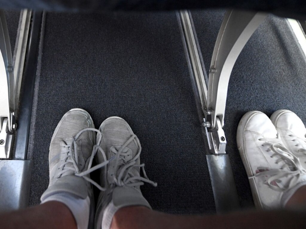 The footwell of an aeroplane.