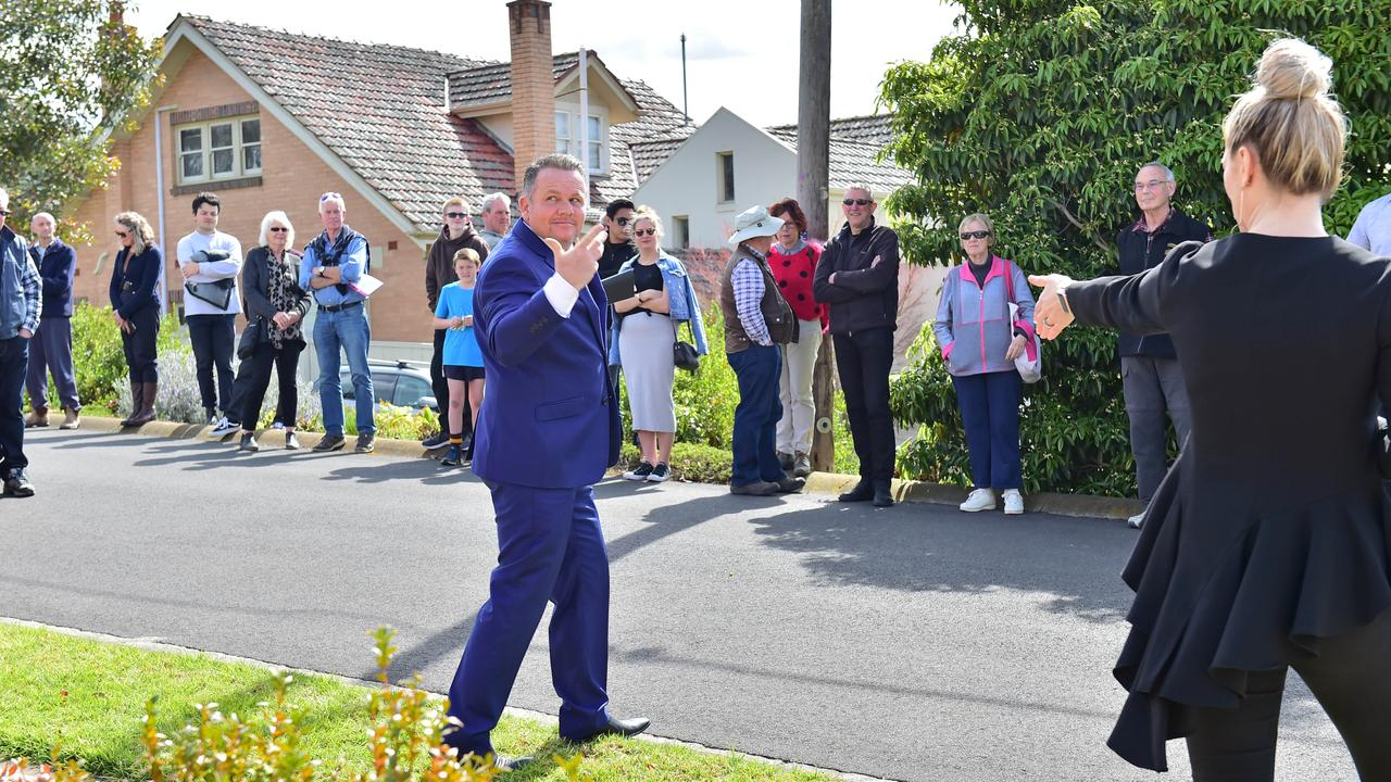 Auctioneer Daniel Hayes during the auction at 6 Denman St, East Geelong. Picture: Stephen Harman